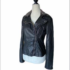 FREE PEOPLE Faux Leather Jacket Moto Hooded Coat